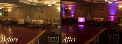 Wedding uplighting rentals before and after