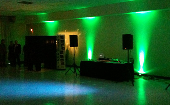 Green uplighting rental for your event. Rental uplight in the green led color for your wedding