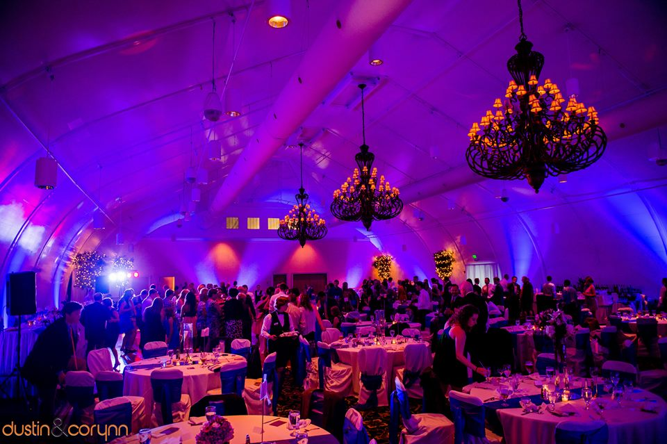 Event and wedding cheap outdoor uplighting rental from summit city purple up lighting rental to full enhance your wedding reception mozeypictures Images