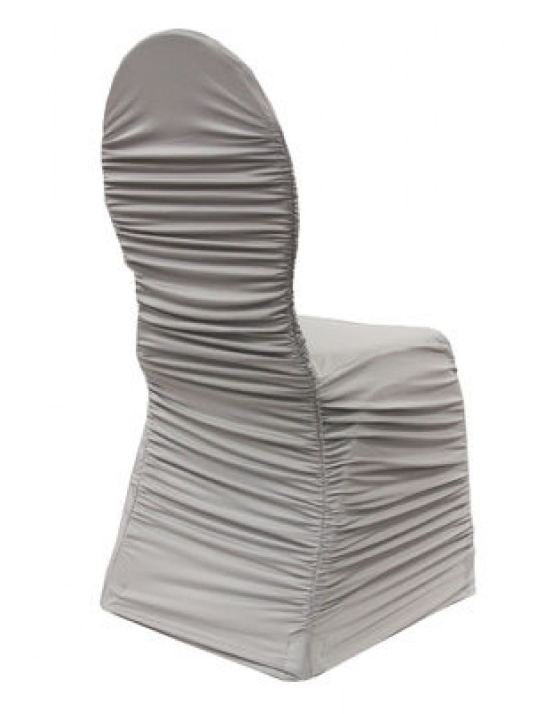 Ruched Fashion Spandex Banquet Chair Cover Silver Chair