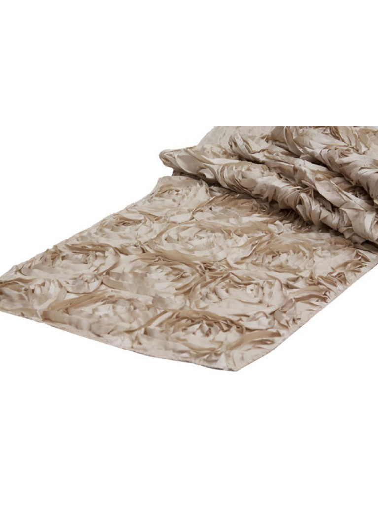 champagne rose table runner - summit city rental